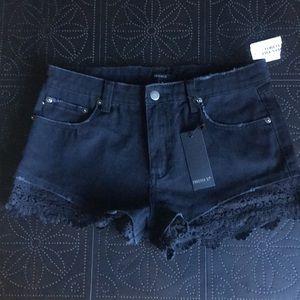 Forever 21 Black Denim Shorts New